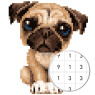 Unicorn Pug: Color By Number & Pixel No Draw
